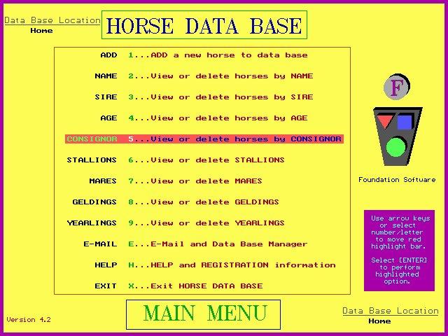 Horse Database 4.2.